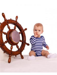 """Боди для малышей в бело-синюю полоску с длинным рукавом """"Юнга"""""""